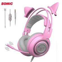 SOMiC G951S DJ PS4 игровая гарнитура шлем Проводная PC стерео наушники «Кошка» наушники с микрофоном для новых Xbox One/ноутбука геймер
