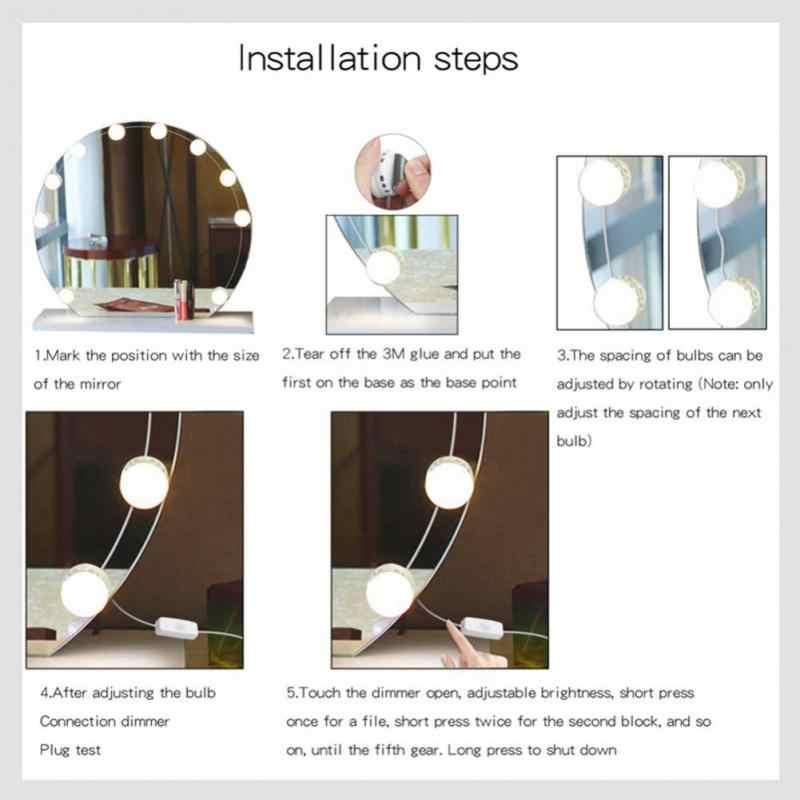 مرآة لوضع مساحيق التجميل الغرور LED مصابيح كهربائية عدة USB شحن ميناء التجميل مضاءة لمبة قابل للتعديل يشكلون المرايا سطوع أضواء