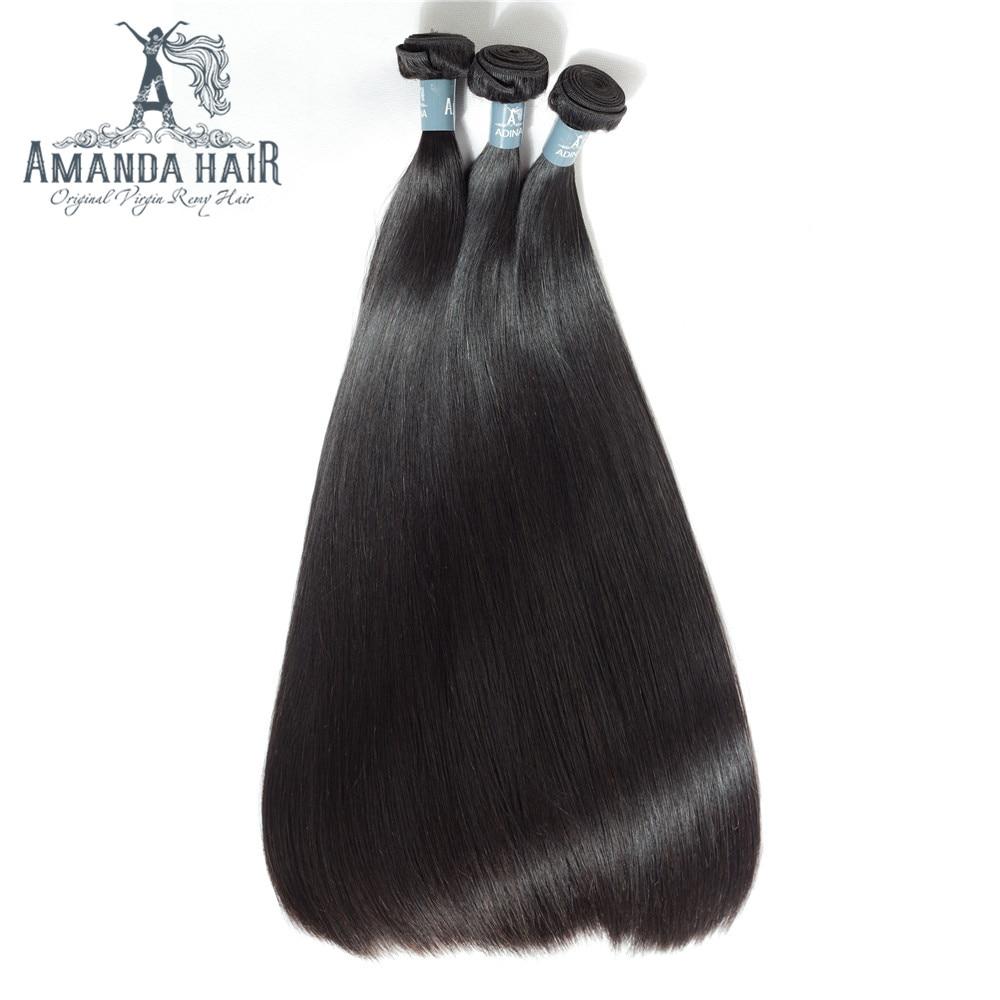 Amanda Double Dessiné Cheveux Humains Péruvienne Vierge Cheveux Raides 3/4 Faisceaux 100% Non Transformés Vierges Humains Cheveux Épais Fin 50 g/pc