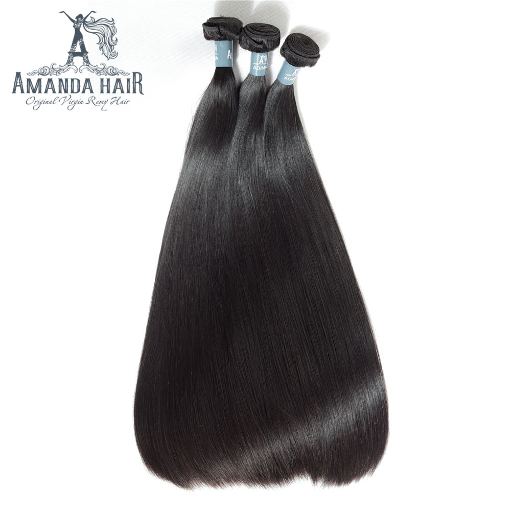 Amanda Double Drawn Human Hair Peruvian Virgin Hair Straight 3/4 Bundles 100% Unprocessed Human Virgin Hair Thick End 50G/PC ...