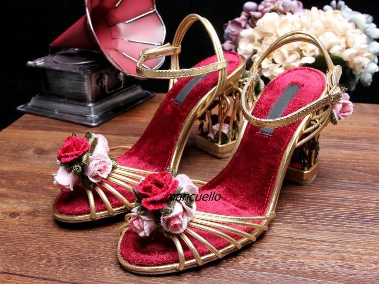 Glamour Boucle Style Rose Décoré Étrange Talon Sandales Femmes Fantaisie Rose En Cage Talon À Bout Ouvert robe Sandales Chaussur.