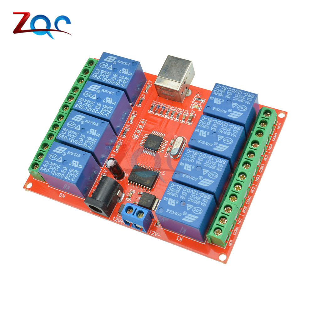 8 Channel DC 12V Relay Module Computer USB Control Switch Driver PC Intelligent Controller For Smart Home