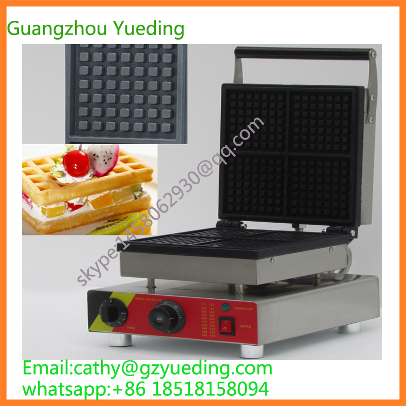 Commercial four Slices Rectangle Egg Waffle Making Machine Rectangle Belgian Waffle Maker waffle baker machine one head rotary belgian waffle maker machine for commercial restaurant machinery wholesale