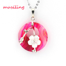 Hollow Round with Flower Natural Stone Necklace Chain Pendants Reiki Pendulum Silver Plated Charms Fashion Jewelry 1pcs