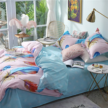 Solstice Home Textile Colorful Feathers Bedding Set Girl Teen Adult Linen Pink Blue Duvet Cover Pillowcase Bed Sheet King 3/4Pcs