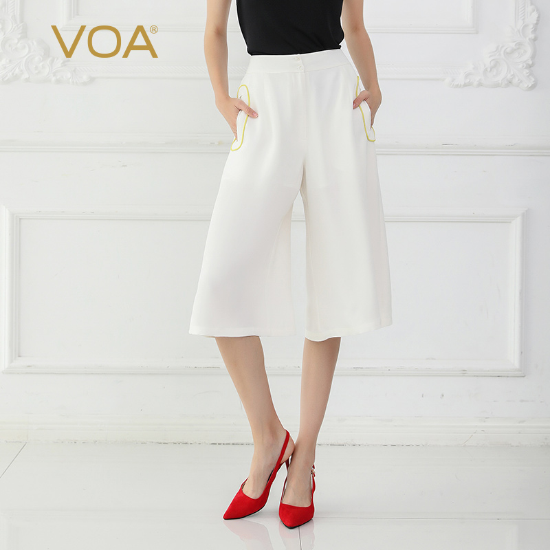 VOA White Silk   Wide     Leg     Pants   Summer Women Cropped Trousers Basic Casual High Waist Large Size Loose K712