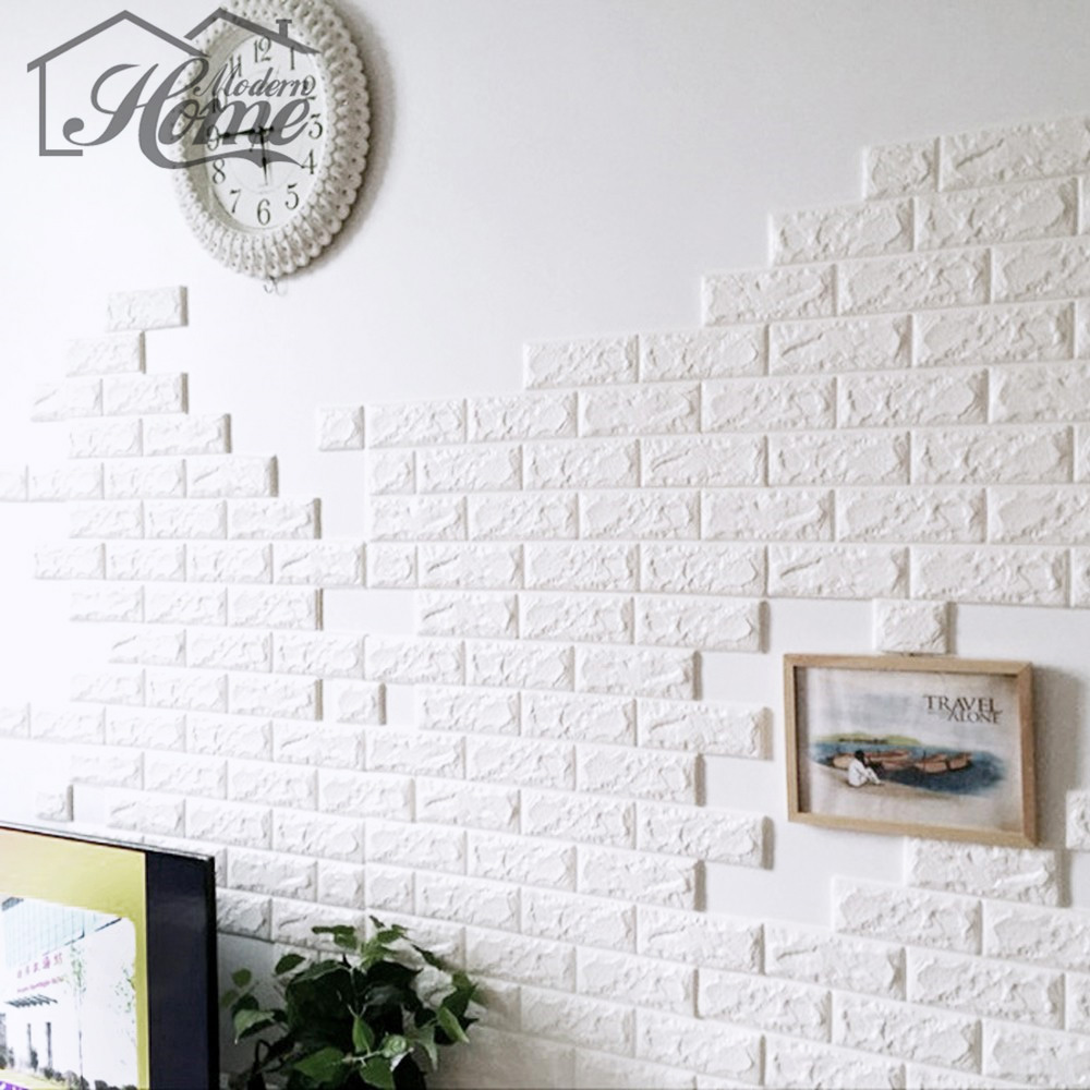 70*15cm PE Foam 3D Wall Stickers Safty Home Decor Wallpaper DIY Wall Decor Brick Living Room Kids Bedroom Decorative Sticker 1pc