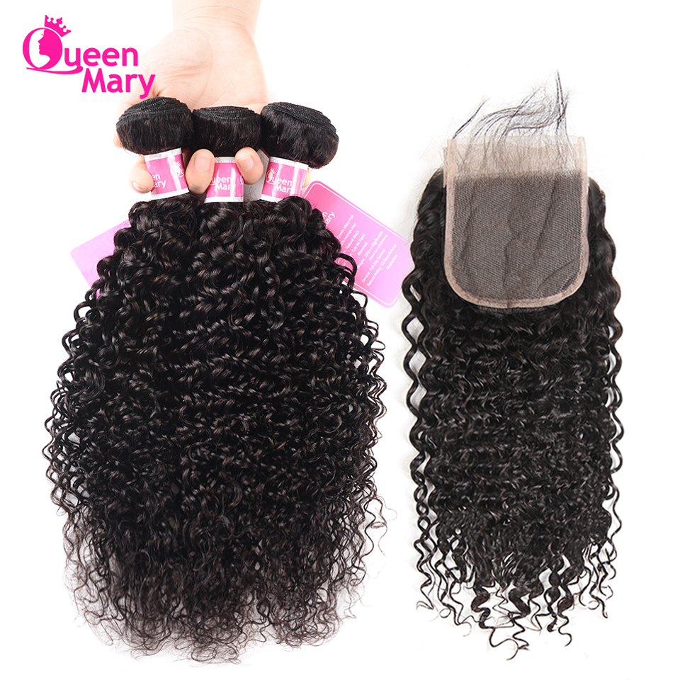 Malaysian Hair Bundles With Closure Kinky Curly Bundles With Closure Human Hair 3 Bundles With Closure Queen Mary Non Remy Hair