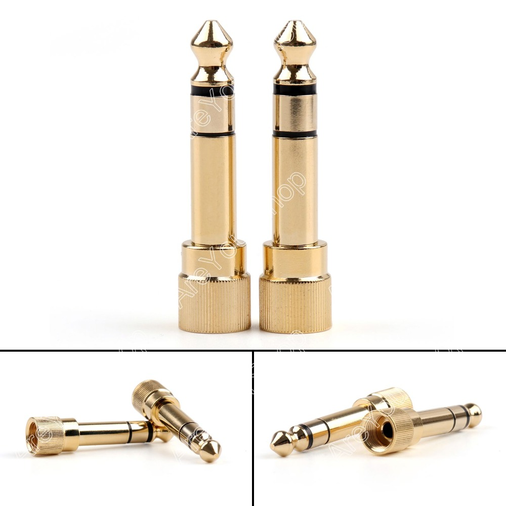 Areyourshop Sale 24 Pcs Adapter Brass Gold 1/4 6.35mm To 3.5mm Plug Stereo Audio Headphone Screw  m акустические кабели atlas hyper bi wire 2 to 4 5 0m transpose z plug gold