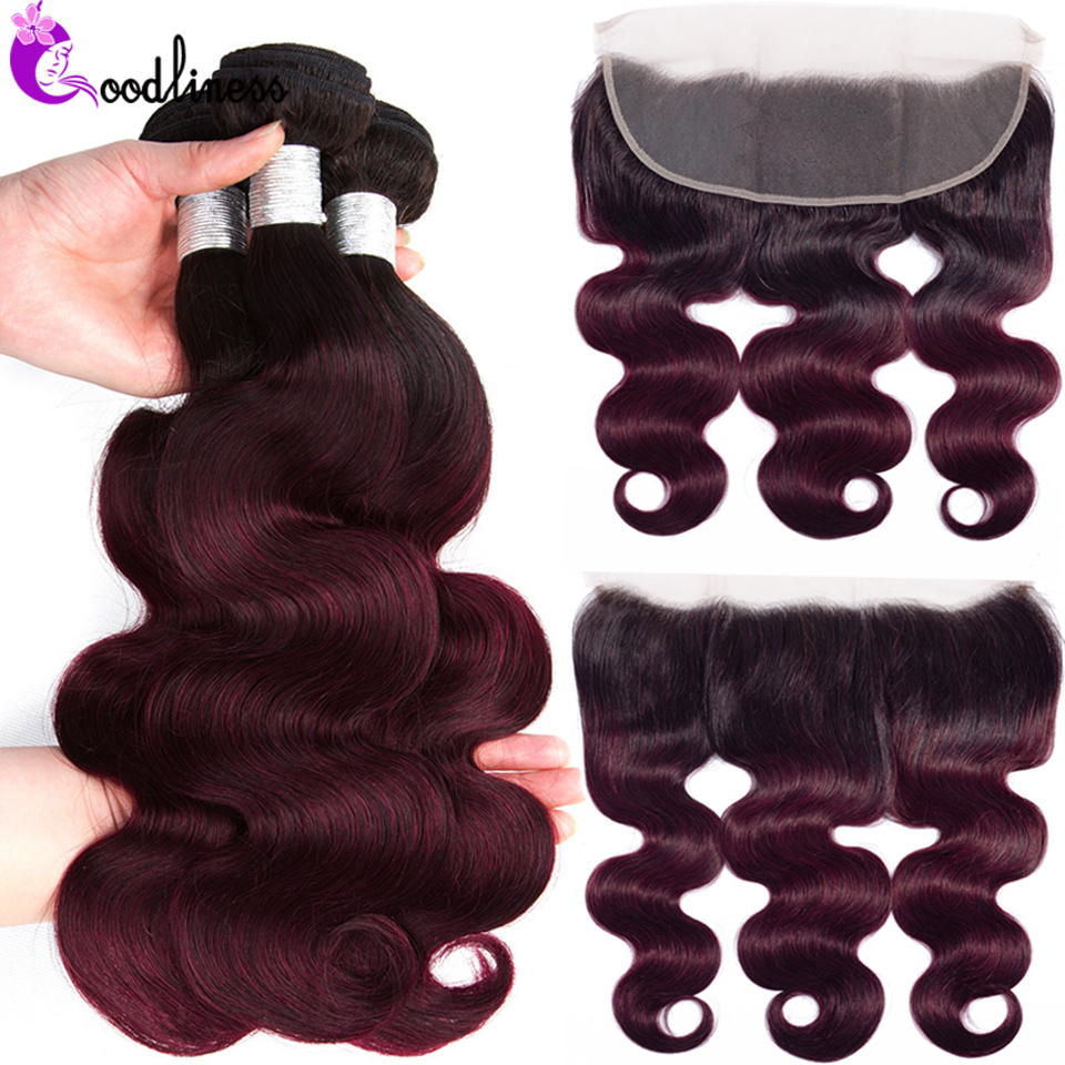 Goodliness Top Ombre Bundles With Frontal Remy Brazilian Bodywave Human Hair Bundles With Frontal T1B 99j Bundles With Frontal