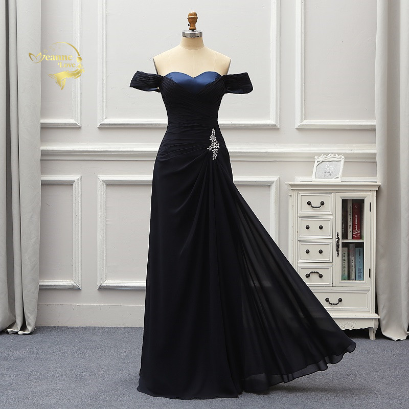 Off The Shoulder Navy Blue Long   Bridesmaid     Dresses   Beach Chiffon Formal   Dresses   Vestido De Festa Longo Abendkleider 2019 BR04