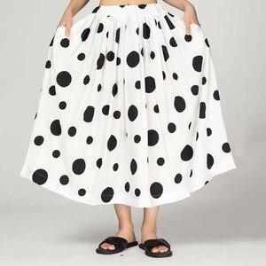 Image 5 - CHICEVER verano Casual Dot Print mujeres falda elástica alta cintura bolsillos suelta tamaño grande media pantorrilla faldas plisadas 2019 moda nuevo