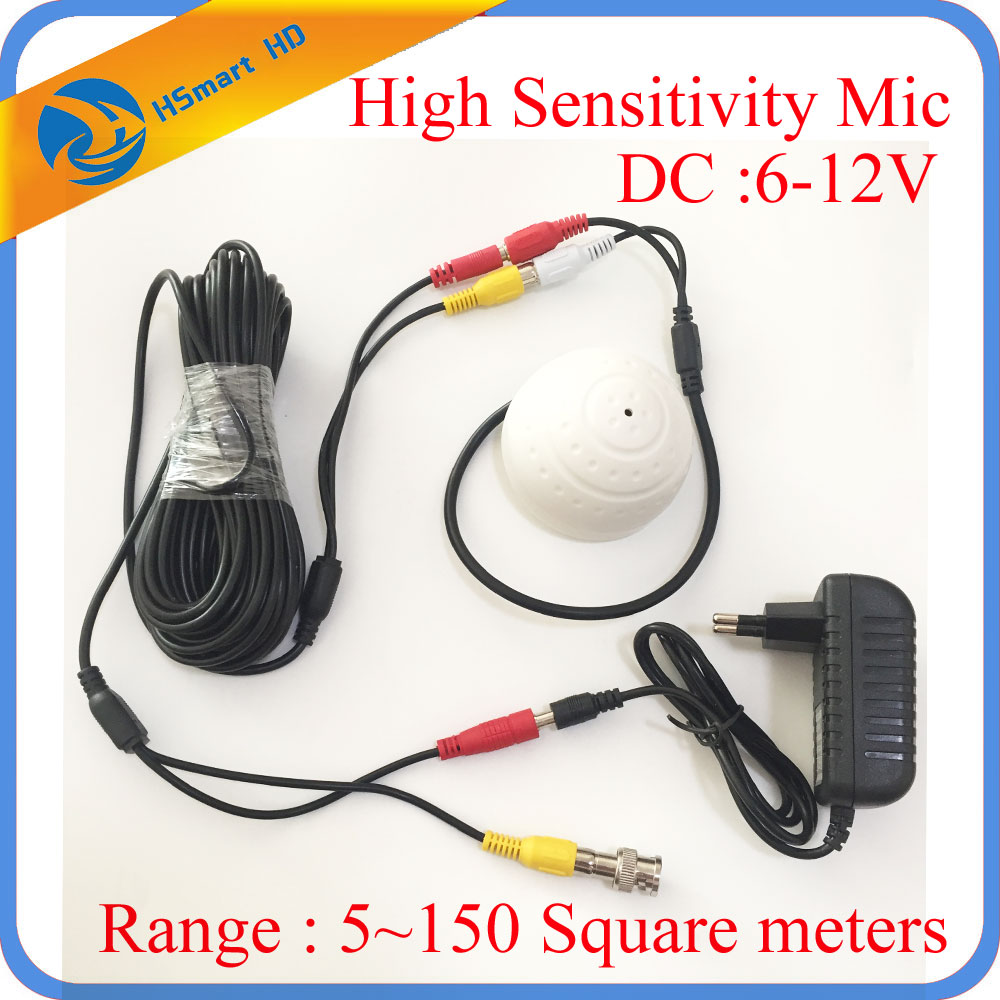DC 6-12V CCTV High Sensitive Microphone Security Camera RCA Audio Mic DC  Power 20m