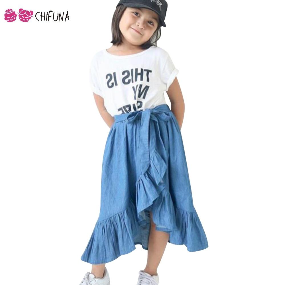 Chifuna New Arrival Fashion Girls Skirt Bow Personality Irregular Denim Skirt Children's Clothing Kids Long Skirts For Girls frill trim blouse with denim skirt