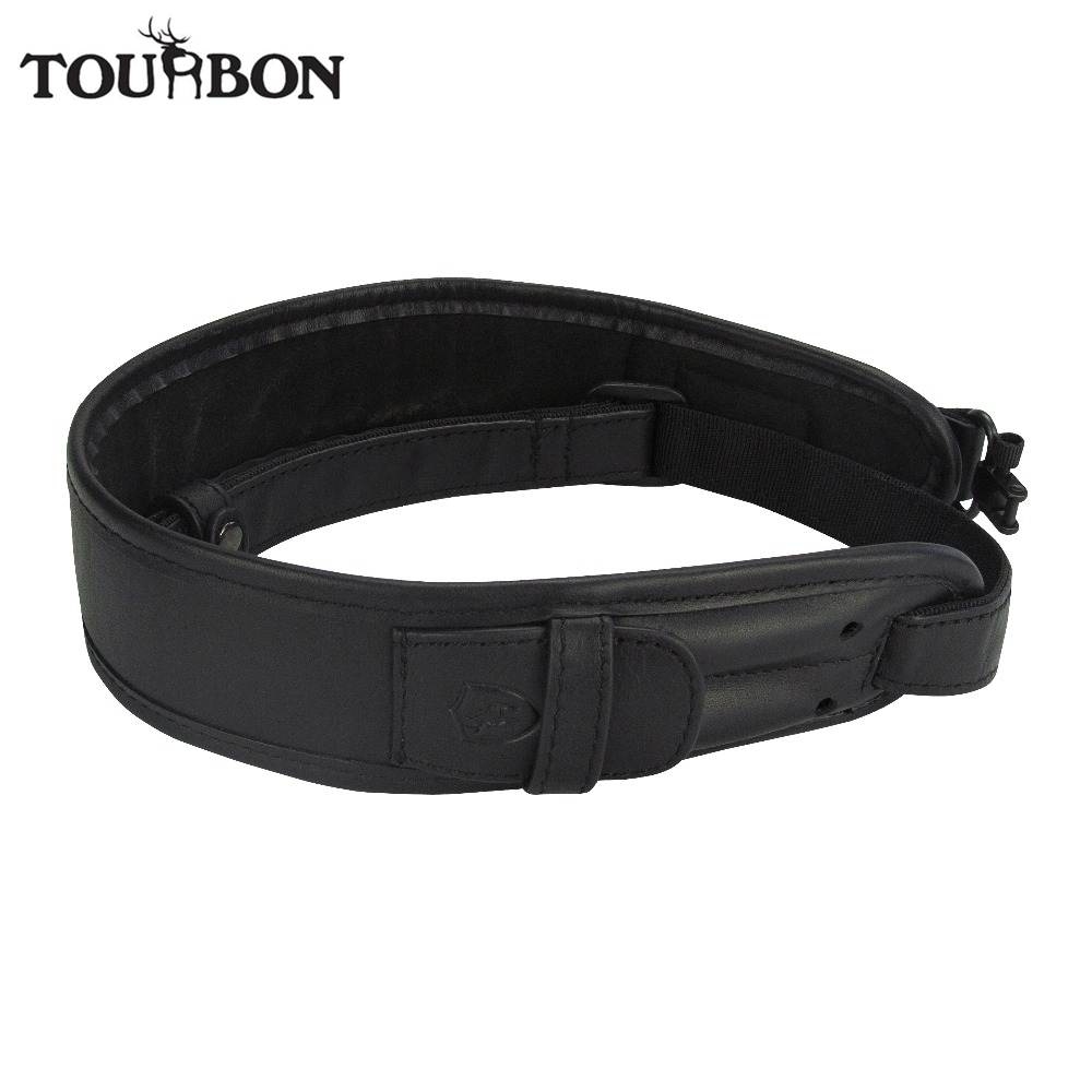 Tourbon Hunting Vintage Rifle Gun Sling Black Genuine Leather Belt with Swivels 2 Rounds Cartridges Holder Max Length 105CM