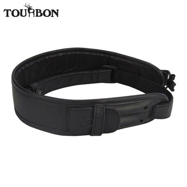 Tourbon Vintage Rifle Gun Sling Black Genuine Leather Belt with Swivels Adjustable Holder 2 Cartridges Rounds Hunting Shooting