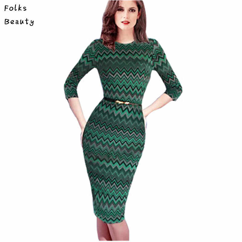 8d7faf61410 Womens Summer Style Elegant Belted Zig Zag Print Business Wear to Work  Office Bodycon Sheath Wiggle