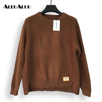 ALEUALUU Brand 2017 New Fashion Women S Round Neck Knit Sweater Elastic Solid Autumn Winter Casual