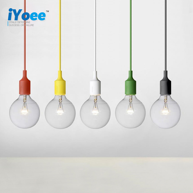 Colorful e27 socket pendant light suspension drop lamp modern colorful e27 socket pendant light suspension drop lamp modern vintage edison bulbs bar restaurant muuto pendant aloadofball Choice Image