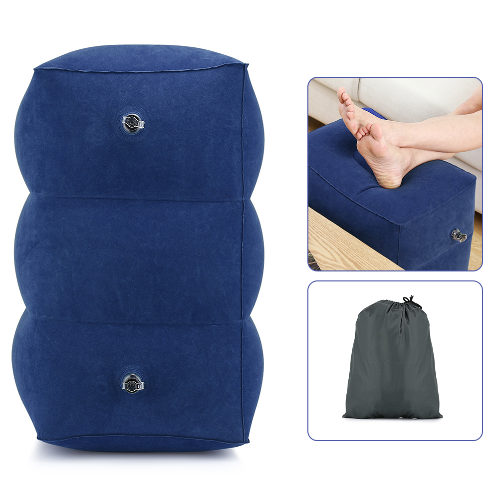 Useful Travel Inflatable Foot Rest Pillow Adjustable Height Portable Leg Rest pad Cushion Carrying Bag Airplane for Car Office in Travel Pillows from Home Garden