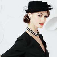 New Lady Fashion Fedoras Hat Women Party Beret Hat Girls Elegant Wool Cap Female British Fisherman Hat Headwear M5059