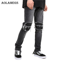 Aolamegs Biker Ripped Jeans For Men Elastic Side Zipper Holes Denim Pants Mens Skinny Jeans Trousers
