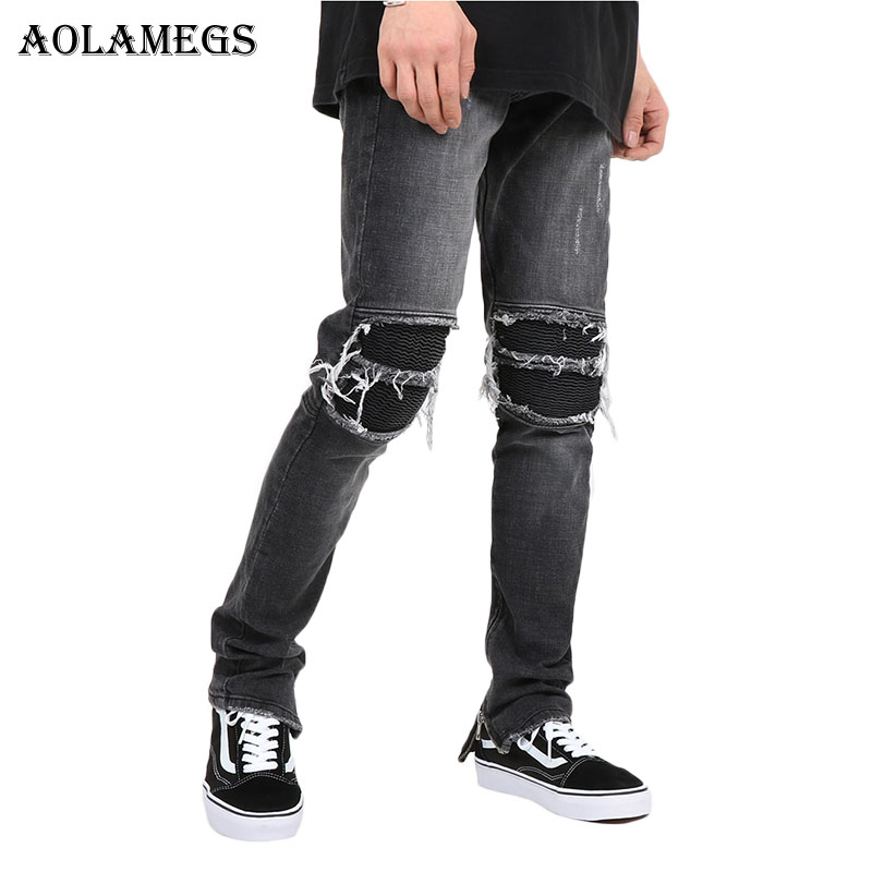 Aolamegs Biker Ripped Jeans For Men Elastic Side Zipper Holes Denim Pants Mens Skinny Jeans Trousers Bottoms Fashion Kanye Brand 2017 fashion patch jeans men slim straight denim jeans ripped trousers new famous brand biker jeans logo mens zipper jeans 604