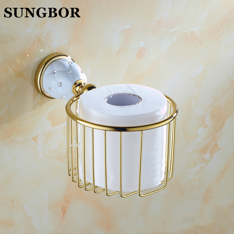 Wall Mounted Golden Gold Color Brass Bathroom Toilet Paper Roll Holder Tissue Basket Holder Bathroom Accessory TL-5207K bathroom accessory antique brass wall mounted copper toilet paper roll holder free shipping aba037