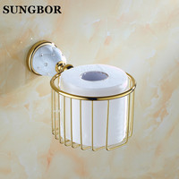 Wall Mounted Golden Gold Color Brass Bathroom Toilet Paper Roll Holder Tissue Basket Holder Bathroom Accessory