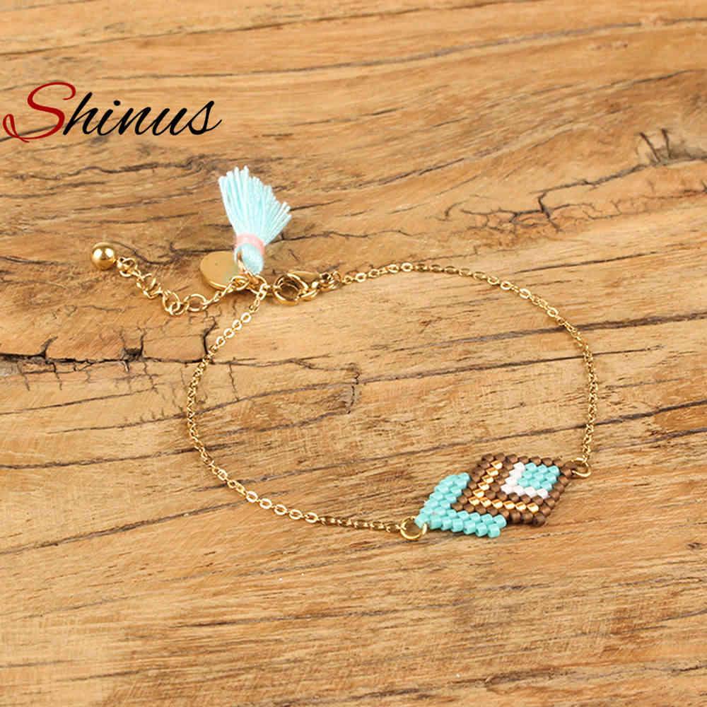 Shinus Perles MIYUKI Bracelat Women Pulseras Mujer 2019 Boho Chic Summer boheme Bileklik miyuki bracelets Gold Chain handwoven