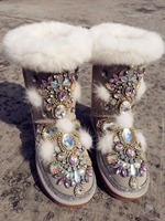 Real Fur Winter Boots Rhinestones Diamond Fashion Snow Boots Thick Warm High Top Women Shoes Large Size 42