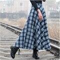 2017 otoño invierno falda de lana plisada falda a cuadros para mujer gruesa caliente retro vintage de cintura alta elegante de la tela escocesa faldas largas