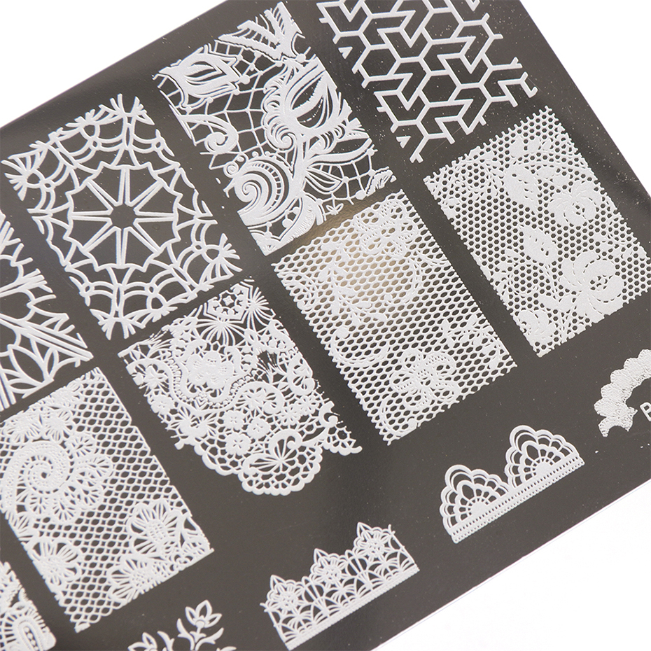 Image 3 - 1 Set Nail Art Stamping Plates Geometry Lace Animals With Sponge Stamper Scraper Stencils For Nail Polish Template LA804-in Nail Art Templates from Beauty & Health