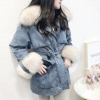 2020 New winter Thicken Warm Denim Jackets Natural fox fur collar women Winter Thick Jean Jacket Coat Female NZY46