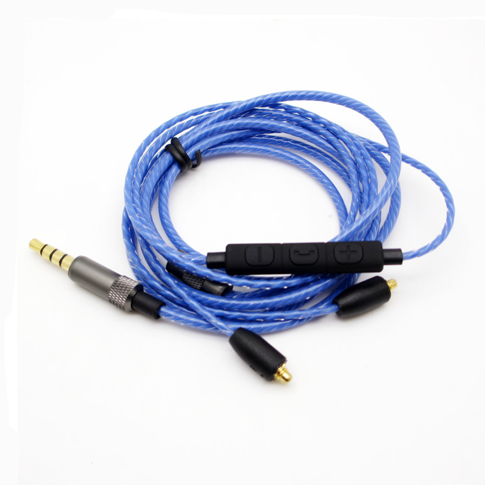 New Arrival 1 2M Oxygen free Copper Earphone Cable HiFi Headset Line with Mic Upgrade Cable