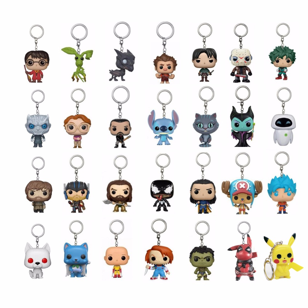Game Of Thrones Night King Tyrion Ghost Keychain Vinyl Toy Harri Potter Fantastic Beasts VENOM Dragon Ball Action Toy Figures