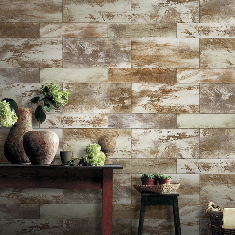 Haokhome vintage faux wood panel wallpaper rolls khaki - Faux wood plank wallpaper ...
