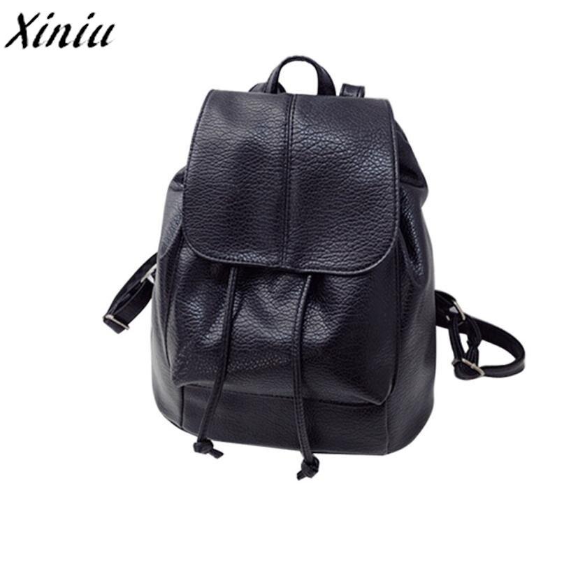Fashion Women Backpack Leather Satchel Vintage Drawstring Back Pack Travel Rucksack Bagpack Simple Casual Schoolbag Mochila#8801