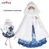 Tsurumaru Kuninaga קוספליי Touken Ranbu באינטרנט שמלה כחולה לבנה פוליאסטר Uwowo Kuninaga Tsurumaru תחפושת קוספליי
