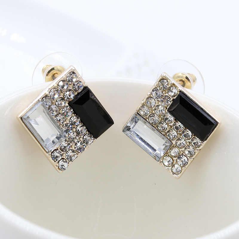 Đen Trắng Rhinestone Quảng Stud Earrings Phụ Nữ Vàng Bạc Plated Pha Lê Bông Tai Tai Đồ Trang Sức Zircon Phụ Kiện