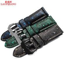 Laopijiang prueba de Sudor suave correas de cuero reloj Reloj Para Hombre accesorios hebilla cadena 24mm adaptador.