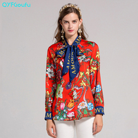 Plus Size Designer Runway Autumn Women Tops And Blouses 2017 High Quality Floral Print Long Sleeves