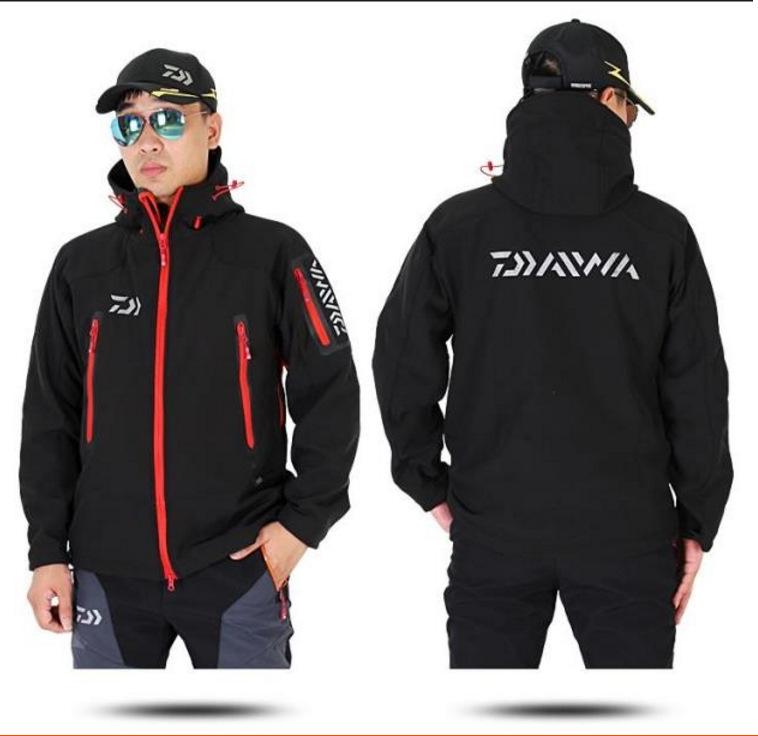 2017 NEW DAIWA Fishing Autumn And Winter Plus velvet coat waterproof jacket parka DAWA Hooded soft shell DAIWAS Free shipping