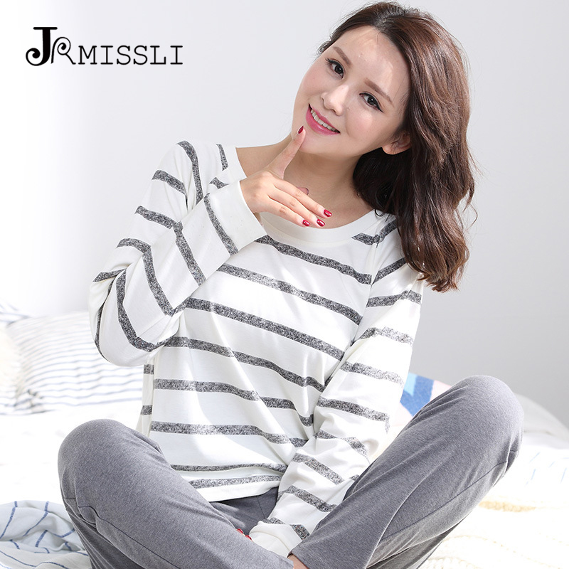 JRMISSLI 3XL   Pajamas     Sets   Women Striped 100% Cotton Carton Fashion Women Sleepwear Suit 2 piece Sexy Spring Home Lounge