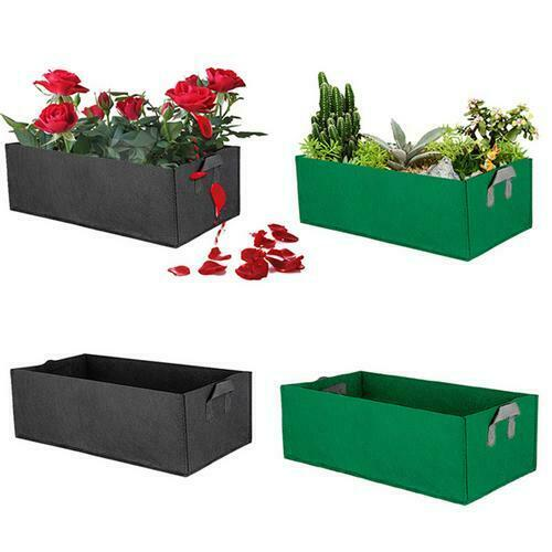 Outdoor Square Fabric Grow Bag Pot Bags Garden Planting Bags With Green Hand Raised Vegetable Planter Flower Herb Rectangle Bed(China)