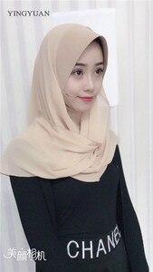 Image 5 - TJ71 新シフォン簡単イスラム教徒 Hijabs スカーフファッションスカーフボイル Musulman 固体ボンネットヒジャーブ