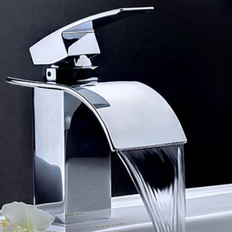 Waterfall Basin Faucet Bathroom Sink Tap Brass Mixer Tap 360 Rotating Chrome Finish Single Lever/ Handle Hot and Cold Water # high quality chrome finish brass hot and cold square rotating kitchen sink basin mixer tap faucet