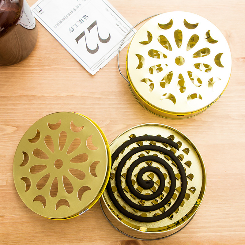 050 Creative iron Hollow Floral Mosquito Coil Holder Case Garden Burner Insect Repellent storage Box 15 5 7cm in Storage Boxes Bins from Home Garden