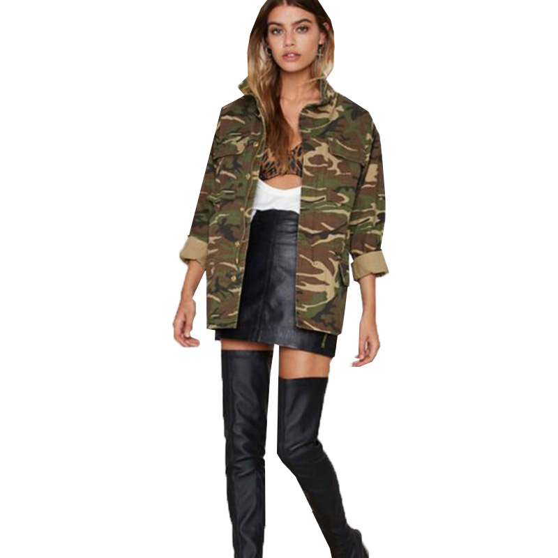 Women 2019 Spring Vintage Camouflage Army Green Zipper Button Jackets Blouses Outwear Coats Blouses female Jacket Wholesale N802