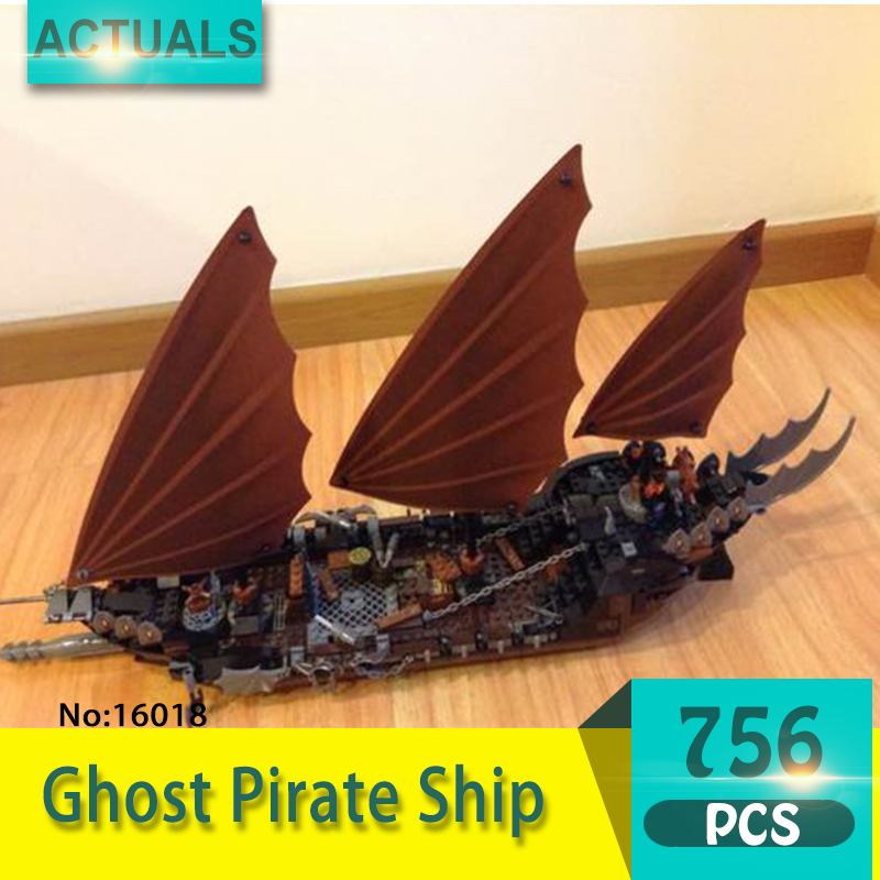 Lepin 16018 756Pcs Movie Series Ghost Pirate Ship Model Building Blocks Set Bricks Toys For Children Pirate Caribbean Gift 79008 lepin 16002 4695pcs movie series pirate ship metalbeard sea cow model building blocks bricks compatible 70810 gift